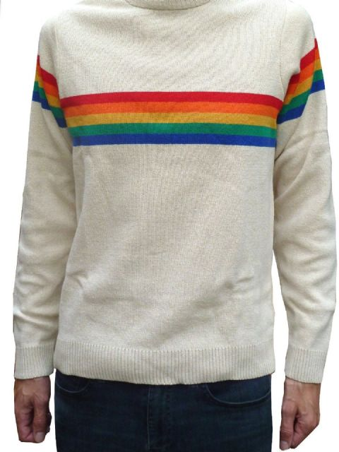 Rainbow - Mens Rainbow Jumper - Cream